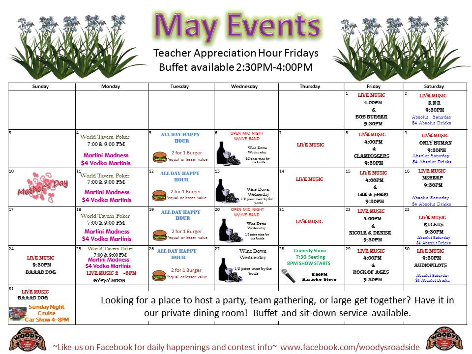 May Calendar With Events : Calendar of events special may